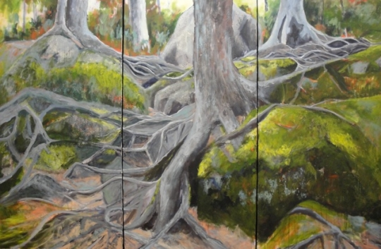"Weaving Roots of Time / triptych 48"" x 72"" / acrylic on canvas"