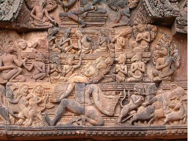 A bas-relief at Banteay Srei in Cambodia depicts Ravana shaking Mount Kailasa, the Abode of Lord Siva. http://en.wikipedia.org/wiki/Relief#Notable_reliefs