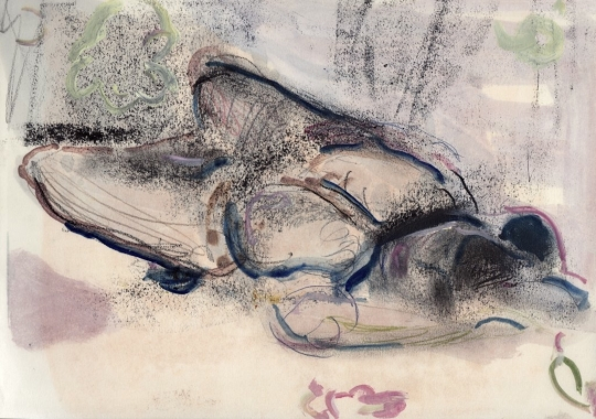 """All about women"" Pencil and oil paint on paper  ca. a4 2012"