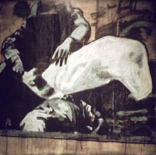 """Libya 2011"", 48""x48"", pastel, graphite, charcoal, oil pastel"