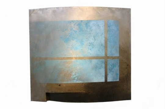 """From Home""     32"" x 32"" x 5""     Welded steel, enamel paint, patina"