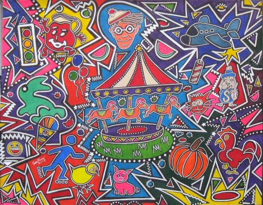 """Merry Go Round Brain Freeze"" 28x22"