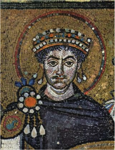 Portrait of the determined Byzantine Emperor Justinian, who reigned from 527 to 565, in San Vitale, Ravenna, Italy. http://worldhistoryclinton.wikispaces.com/Ch.+9+-+The+Byzantine+Empire