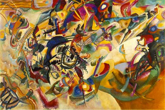 Wassily Kandinsky, Composition VII 1913 Wikimedia http://4.bp.blogspot.com/-F_YuppMSrMo/TaeSWY7FlkI/AAAAAAAABVU/WCBk8Mr_Td0/s1600/Wassily%2BKandinsky%2BComposition%2BVII.jpg