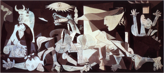 Pablo Picasso April 26, 1937–June 1937 http://www.caribousmom.com/wordpress/wp-content/uploads/guernicamural.jpg