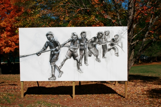Tug of War, Mayors Park, Young Harris, GA (outdoor drawing, children playing tug of war)