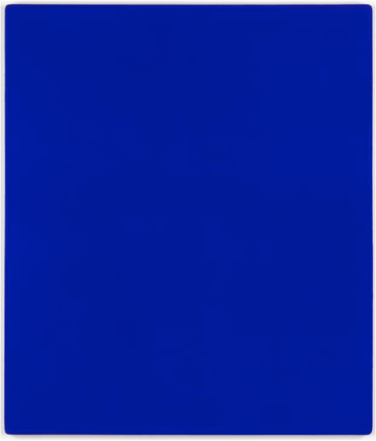 Yves Klein IKB 79 1959  KB 79 was one of nearly two hundred blue monochrome paintings Yves Klein made during his short life. He began making monochromes in 1947, considering them to be a way of rejecting the idea of representation in painting and therefore of attaining creative freedom. Although it is difficult to date many of these works precisely, the early ones have an uneven surface, whereas later ones, such as the present work, are finer and more uniform in texture. Klein did not give titles to these works but after his death in 1962, his widow Rotraut Klein-Moquay numbered all the known blue monochromes IKB 1 to IKB 194, a sequence which did not reflect their chronological order. Since then further examples have been identified and these have also been given IKB numbers. In 1974 Rotraut Klein-Moquay wrote to Tate saying that she was fairly certain that IKB 79 was one of about four monochrome paintings Klein made when they were together at Gelsenkirchen, West Germany in 1959. http://www.tate.org.uk/art/artworks/klein-ikb-79-t01513/text-summary