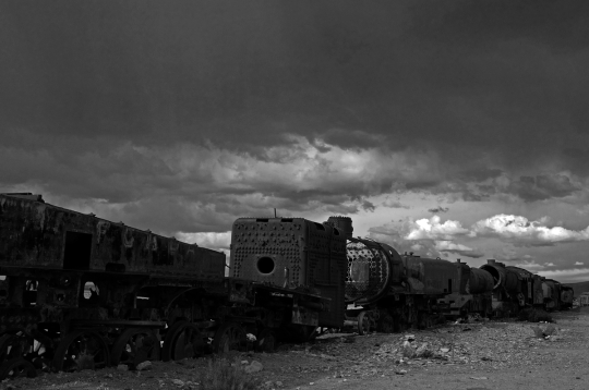 Abandoned steam locomotives at Uyuni train cemetery, Bolivia