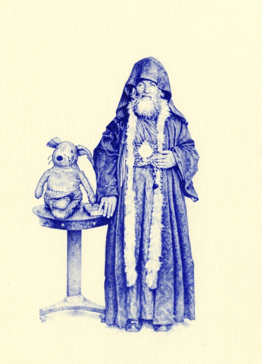 Priest and Rabbit biro miniature