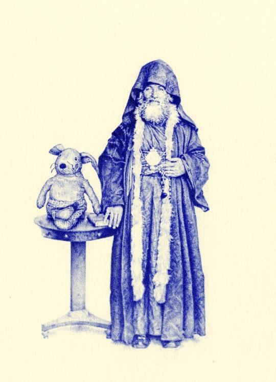 Priest and Rabbit biro miniature