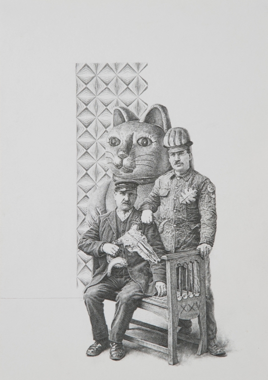 Fusiliers, pencil on card, 2013