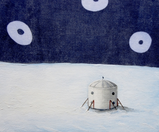 Arctic Mars Research Station,  detail, oil on fabric, 2014