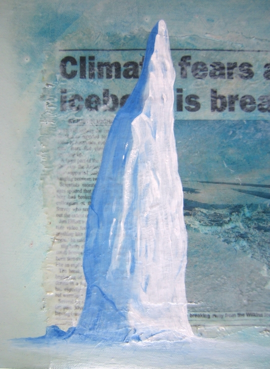 Big Iceberg, detail, mixed media on board, 2008