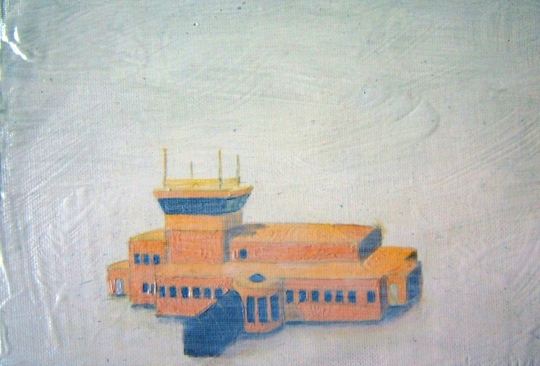 Iqaluit International Airport, oil on board, 6x4in, 2008