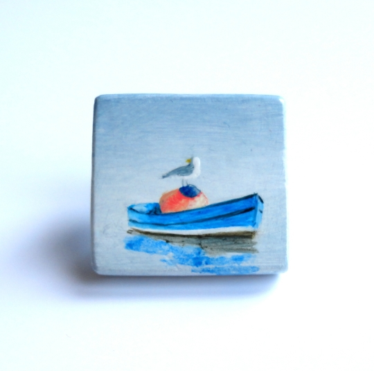 Little Boat, oil on wood, 1x1in, 2014