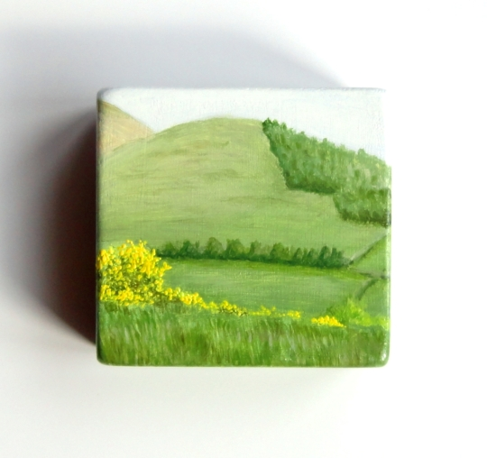 Summer Hills, oil on wood, 3x3in 2014