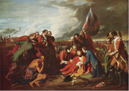 Benjamin West the death of general wolfe 1770 https://upload.wikimedia.org/wikipedia/commons/4/4f/Benjamin_West_005.jpg