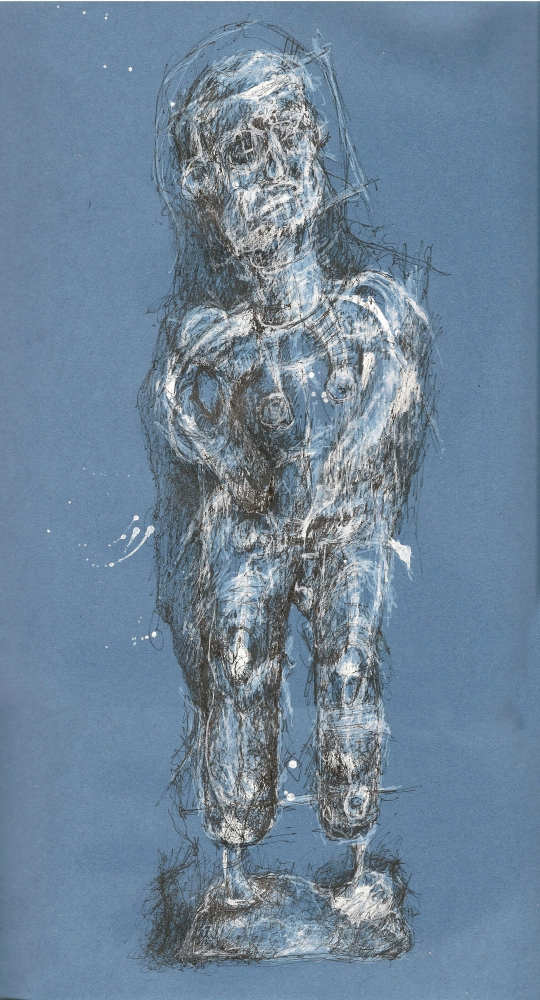 Blueman 2, pen on paper 30x40cm
