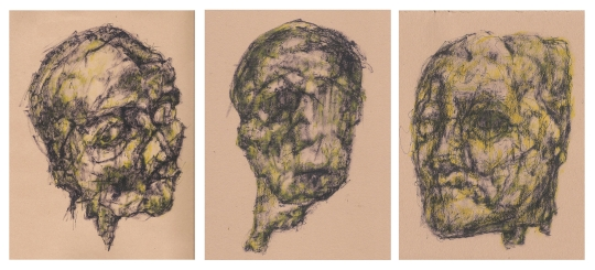 Head studies 1,2 & 3, felt pen on paper each 20x30cm