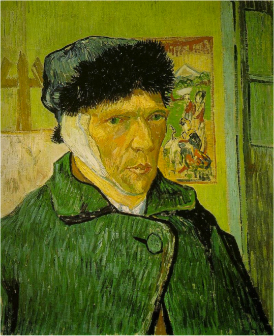 Van Gogh Self-portrait with Bandaged Ear, Easel and Japanese Print, January 1889 Oil on canvas, 60 × 49 cm