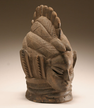 "African Mende carved wooden Janus mask, Sierra Leone. Double sided figural visages. 17""H.http://antiquehelper.rfcsystems.com/Full/217/70217.jpg"