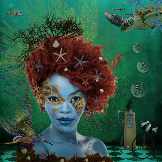 'Ocean' was created by digital artist Nola Lee Kelsey. It is the 8th piece in her surreal portrait series. This artwork is an editorial statement against the polluting of our seas and ongoing drilling for oil, despite the fact that in the end we will still need to harness renewable energy sources such as solar and wind power. Why not just do it now? We need healthy seas to exist - not oil spills. No amount of cleaning and technology can repair the balance of life it took nature billions of years to perfect. Oil and water do not mix.