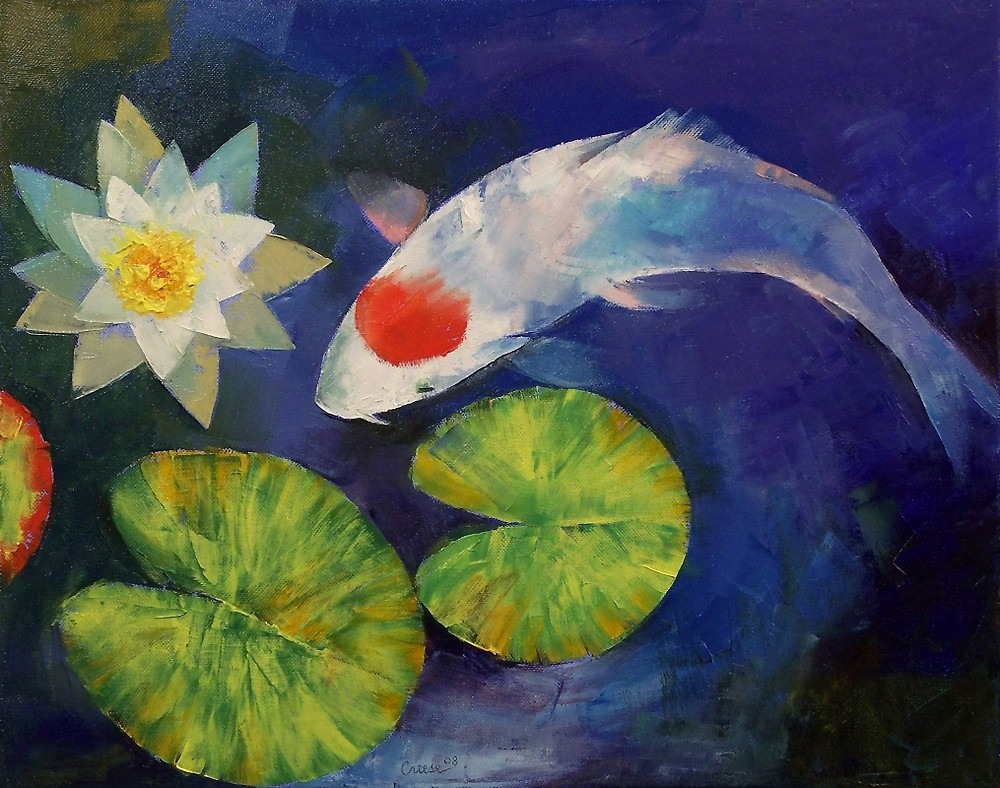 Vibrant textures the paintings of michael creese for Koi fish artwork