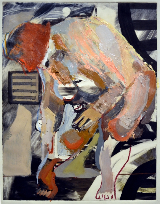 "In the Hold, oil on paper, 2012, 18"" x 9"""