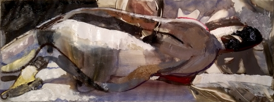 "Mannered Nude, oil on paper, 2015, 9"" x 24"""