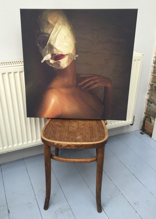 Silence me - print on canvas (mannequin and masking tape)