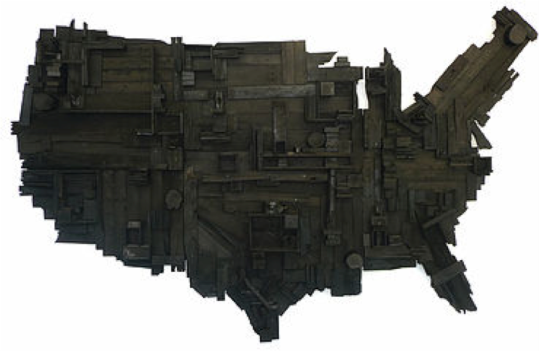 "WESLEY CLARK My Big Black America 84"" x 144"" x 14"" salvaged and stained wood 2011 http://www.prizmartfair.com/prizm-program"