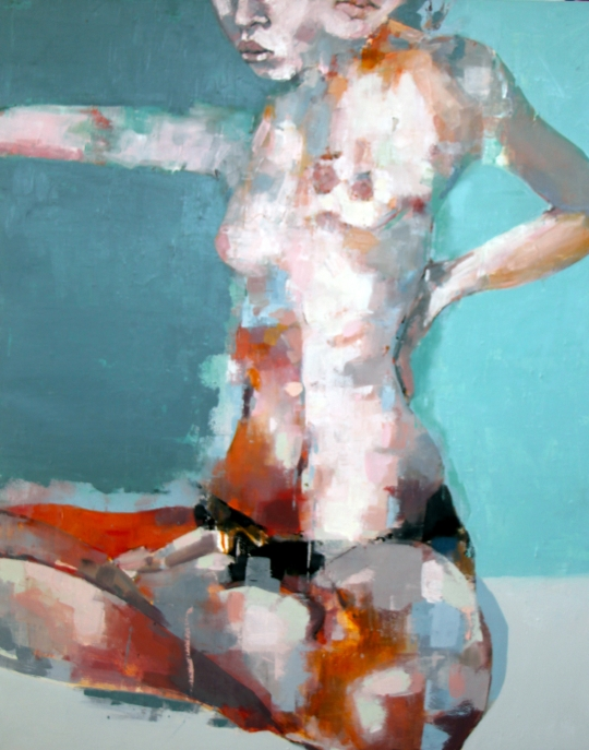 thomas-donaldson-2-figure-study-on-green-oil-on-canvas-100x80cm
