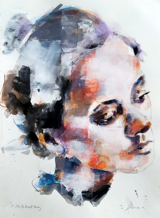 thomas-donaldson-9-head-study-ink-watercolour-and-acrylic-on-paper-27x18cm